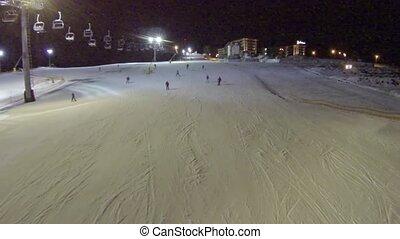 pente, prise vue aérienne, bukovel, ski