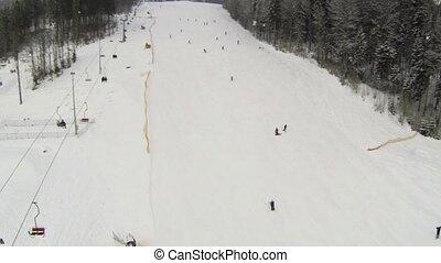 pente, ski, prise vue aérienne