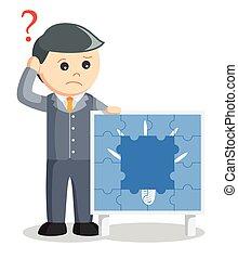 perdre, puzzle, idée, homme affaires