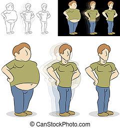 perdre, transformation, poids, homme