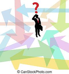 perdu, business, question, décision, flèches, confondu, homme