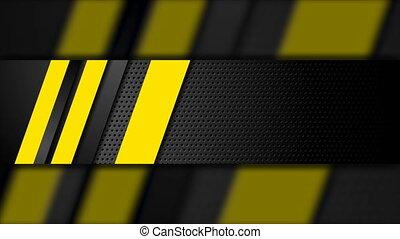 perforé, animation, raies, vidéo, fond foncé, noir, jaune
