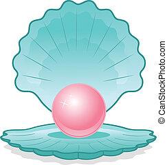 perle rose, coquille