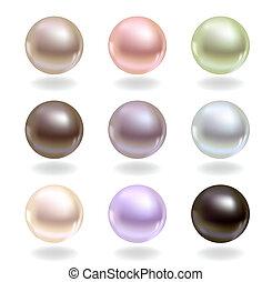 perles, différent, couleurs