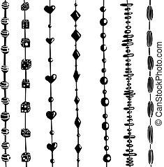 perles, ensemble, ficelle, illustration, noir, blanc