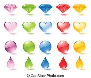 perles, ensemble, icône