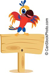 perroquet, planche, bois