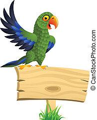 perroquet, vide, vert, enseigne