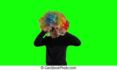 perruque, écran, feindre, vert, girl, clown, crying., triste