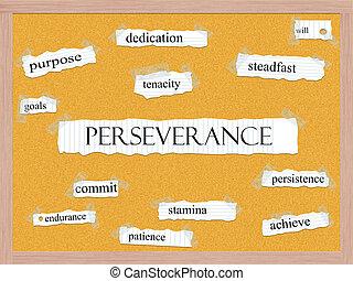 persévérance, concept, corkboard, mot