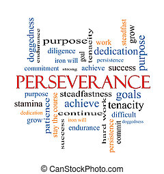 persévérance, concept, mot, nuage