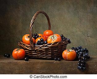 persimmons, vie, panier, raisins, encore