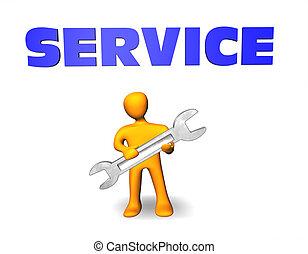 persnon, service., illustration, regarde, valeur, 3d