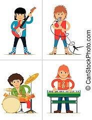 personages., rocher, ensemble, musiciens