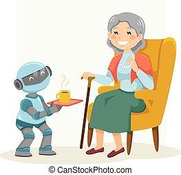 personne âgée femme, robot, aider, eldercare