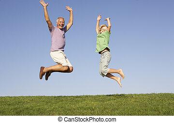 personne âgée homme, sauter, petit-fils, air