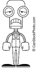 personne affaires, triste, dessin animé, robot
