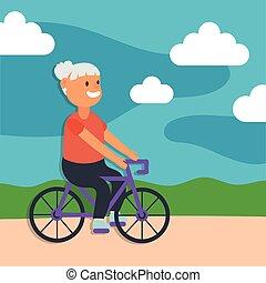 personne agee, équitation, caractère, femme, actif, vieille bicyclette