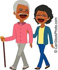 personne agee, américain, marche couples, africaine