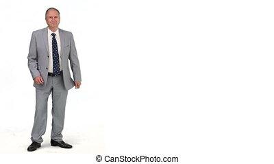 personne agee, complet, regarder, appareil photo, homme affaires