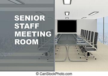 personne agee, concept, salle réunion, personnel