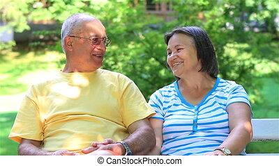 personne agee, délassant, couple, ensemble