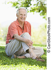 personne agee, dehors, séance homme
