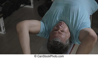 personne agee, disque, exercisme, poids, homme