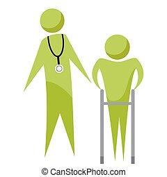 personne agee, docteur, patient, icône