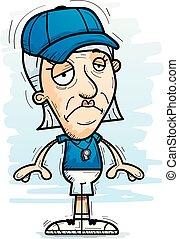 personne agee, entraîneur, dessin animé, triste