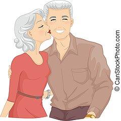 personne agee, joue, couple, baiser