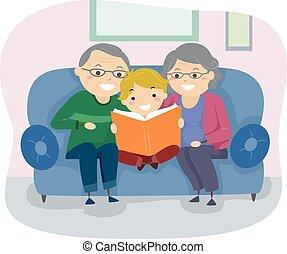 personne agee, livre, stickman, couple, gosse