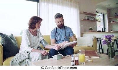 personne agee, maison, visiteur, santé, femme, visit., pendant