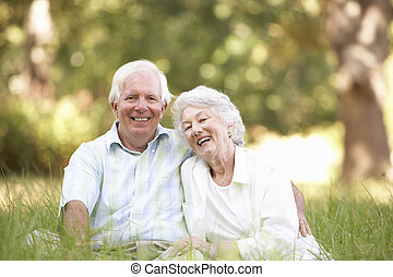 personne agee, parc, couple, séance