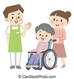 personne agee, personnel, jeune femme, soin, fauteuil roulant