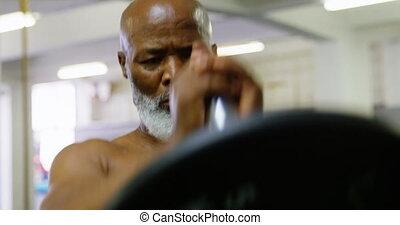 personne agee, poids, exercisme, homme, 4k, barre disques