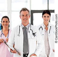 personne agee, sien, docteur, collègues, sourire