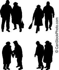 personne agee, .silhouettes, gens.