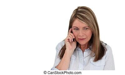 personne agee, téléphoner femme, conversation