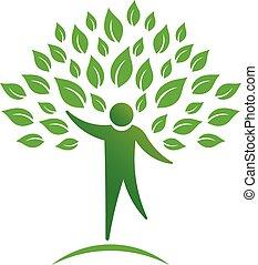 personne, arbre, logo