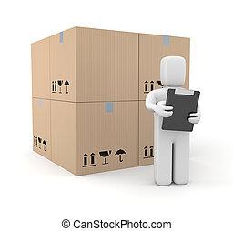 personne, boîtes, presse-papiers
