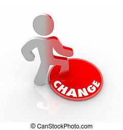 personne, bouton, sur, marcher, changement