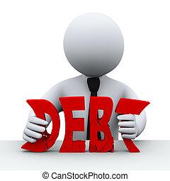 personne, concept, gratuite, dette, 3d