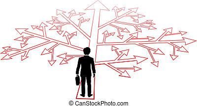 personne, confondre, décisions, business, sentier