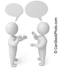personne, conversation, render, 3d