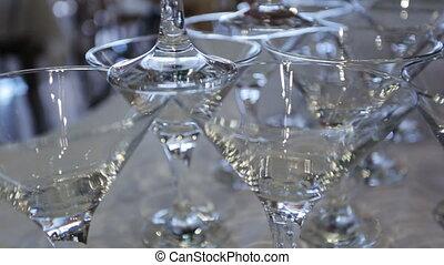 personne, crée, cristal, construction, table, lunettes vin