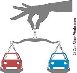 personne, décision, achat, choix, voitures