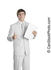 personne, dossier, papier, jeune, business