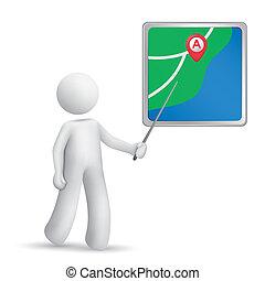 personne, navigateur, crosse, pointage, 3d