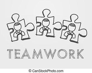 personne, puzzle, collaboration, morceaux